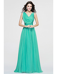 Bridesmaid Dress Floor-length Chiffon Elegant - A-line V-neck with Side Draping by MYF
