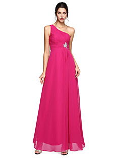 Linia -A Pe Umăr Lungime Podea Șifon Seară Formală Rochie cu Mărgele Drapat Părți Ruching de TS Couture®
