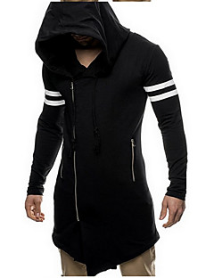 Men's Going out Casual/Daily Simple Active Hoodie Jacket Solid Striped Hooded Micro-elastic Cotton Long Sleeve Spring Fall Winter
