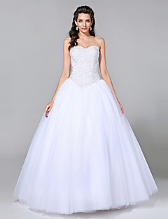 cheap Plus Size Wedding Dresses-Ball Gown Sweetheart Floor Length Tulle Custom Wedding Dresses with Beading by LAN TING BRIDE®