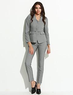 Kadın Polyester Uzun Kol V Yaka Sonbahar Solid Normal-Kadın Blazer
