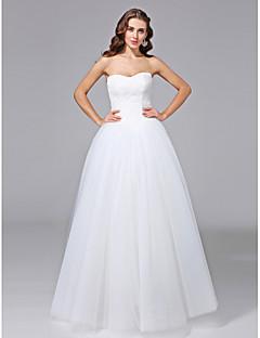 billiga Balbrudklänningar-Balklänning Axelbandslös Golvlång Spets på tyll Bröllopsklänningar tillverkade med Spets av LAN TING BRIDE® / Öppen Rygg