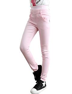 billige Bukser og leggings til piger-Pige Bukser Daglig Sport Skole Ensfarvet Forår Efterår Pænt tøj Sort Rosa Rød Lys pink