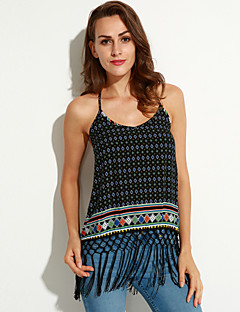 Χαμηλού Κόστους Chic Sexy Shirts-Γυναικεία Μπλούζα Γεωμετρικό Τιράντες Δαντέλα Εξώπλατο Φούντα Βαμβάκι Πολυεστέρας