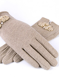 Dame Fritid Håndleddslengde Fingerspisser,Vinter Solid Ull
