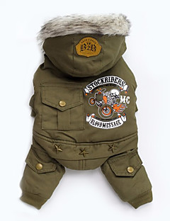 Dog Coat Hoodie Clothes/Jumpsuit Dog Clothes Winter Spring/Fall Letter & Number Fashion Casual/Daily Gray Green