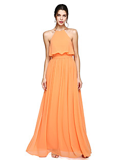 A-Line Halter Floor Length Chiffon Bridesmaid Dress with Bow(s) Sash / Ribbon by LAN TING BRIDE®