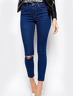 Dame Subțire Blugi Pantaloni Simplu Solid Casul/Zilnic Talie Inaltă Buton Polyester Micro-elastic toamnă / iarnă