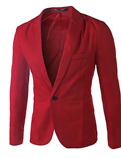 Herren Solide Einfach Lässig/Alltäglich Arbeit Blazer,Steigendes Revers Lange Ärmel Standard Baumwolle Andere