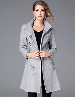 女性 カジュアル/普段着 冬 ソリッド コート,シンプル シャツカラー ブルー / グレイ ポリエステル 長袖