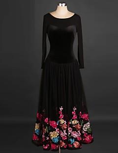 hesapli -Balo Dansı Elbiseler Performans Splandeks / Organze Dantel / Çiçekli Uzun Kollu Yüksek Elbise