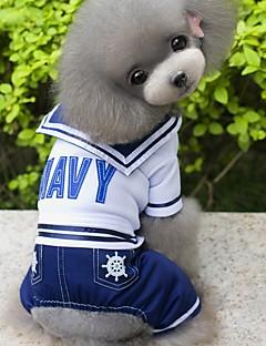baratos -Cachorro Fantasias Macacão Roupas para Cães Fantasias Fashion Marinheiro Azul Escuro Ocasiões Especiais Para animais de estimação