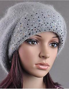 Női Tömör Tél Ősz Nyúl szőrme Alkalmi Széles karimájú kalap Fehér Fekete Szürke Bíbor