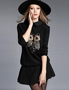 Normal Pullover Plusstørrelser Fritid/hverdag Enkel Dame,Broderi Skjortekrage Langermet Rayon Polyester Høst Vinter Medium Elastisk
