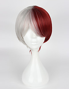 Cosplay Wigs My Hero Academy Battle For All/Boku no Hero Academia Cosplay White / Red Short Anime Cosplay Wigs 35cm CMHeat Resistant
