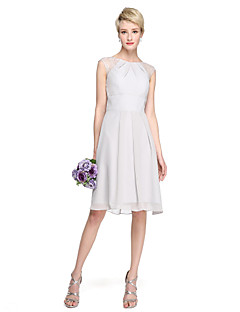 cheap Bridesmaid Dresses-A-Line Jewel Neck Knee Length Chiffon Lace Bridesmaid Dress with Pleats by LAN TING BRIDE®