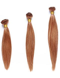 Menneskehår Indisk hår fremhævet hår Yaki Hår Ekstensions 3 Dele Jordbær Blond / Medium Kastanjerød