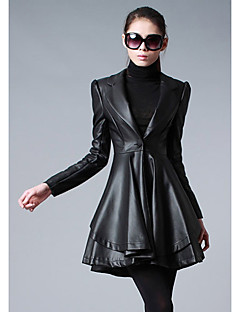 Women's Casual/Daily Going out Sophisticated Fall Winter Leather Jacket,Solid Notch Lapel Long Sleeve Long PU Ruffle