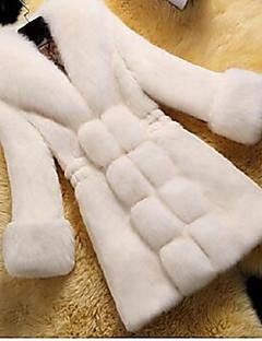 Χαμηλού Κόστους Μπουφάν-Γυναικεία Γούνινο παλτό Βίντατζ - Μονόχρωμο Ψεύτικη Γούνα Λαιμόκοψη V / Χειμώνας