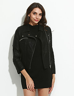 Women's Casual/Daily Street chic / Punk & Gothic Leather Jackets,Solid Notch Lapel Long Sleeve Fall Black PU Medium