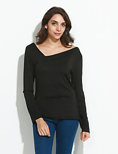 billige T-shirt-V-hals Dame - Ensfarvet Patchwork Gade I-byen-tøj T-shirt