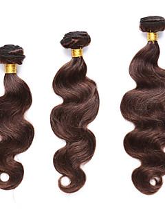 Menneskehår Indisk hår Forhånd farvede hår vævninger Krop Bølge Hår Ekstensions 3 Dele Mellembrun