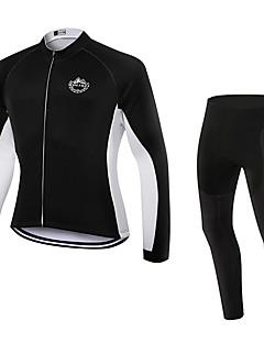 billige Sykkelklær-WOLFKEI Langermet Sykkeljersey med tights - Hvit Sykkel Klessett, 3D Pute, Hold Varm, Fort Tørring, Pustende, Svettereduserende Coolmax