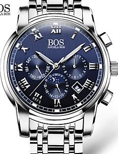 billige Luksus Ure-AngelaBOS Herre Quartz Armbåndsur Kalender Selvlysende Rustfrit stål Bånd Afslappet Kjoleur Mode Hvid