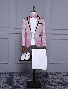 Pink Solid Tailored Fit Suit - Notch Single Breasted One-button