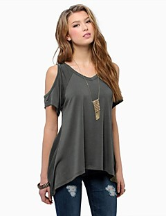 Women's Off The Shoulder Chinanuo Sexy Off Shoulder Fishtail hem T-shirt (Cotton)