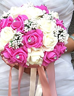 "cheap -Wedding Flowers Bouquets Unique Wedding Décor Special Occasion Party / Evening Bead Rhinestone Satin Foam 19.7""(Approx.50cm)"