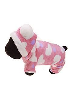 billiga Hundkläder-Hund Huvtröjor / Jumpsuits Hundkläder Blommig / Botanisk Rosa Flanelltyg Kostym För husdjur Herr / Dam Håller värmen / Sport