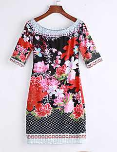 Women's Off The Shoulder Going out / Party Sexy Bodycon DressFloral Boat Neck Above Knee Length Sleeve Red