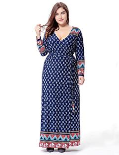 ieftine SWEET CURVE®-Pentru femei Mărime Plus Size Swing Rochie - Imprimeu V Adânc Maxi