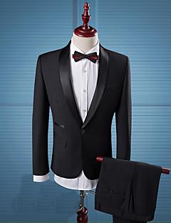Herren Solide Vintage Einfach Street Schick Lässig/Alltäglich Arbeit Anzug,Gekerbtes Revers Langarm Standard Kunstseide