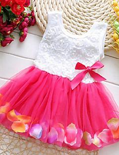 שמלה משובץ דמקה פוליאסטר קיץ ירוק / ורוד / סגול / אדום / צהוב הילדה של