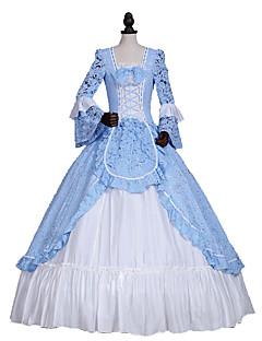 billiga Lolitaklänningar-Prinsessa Gotisk Lolita Klassisk / Traditionell Lolita Rokoko Elegant Victoriansk Spets Dam Klänningar Cosplay Blå Balklänning Blommig Långärmad Lång längd Plusstorlekar Anpassad Kostymer