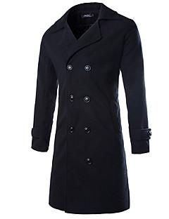 男性 カジュアル/普段着 春 秋 ソリッド コート,シンプル シャツカラー ブラック ブラウン グレイ コットン 長袖 ミディアム