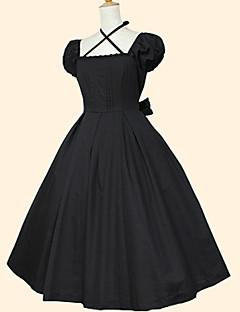 billiga Lolitaklänningar-Söt Lolita Rokoko Dam Klänningar Cosplay Svart Kortärmad Telång Kostymer