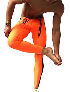 billiga Träning-, jogging- och yogakläder-Herr Tights för jogging / Gymleggings - Orange, Grön sporter Mode Kompressionskläder Fitness, Gym, Träna Sportkläder Andningsfunktion, Snabb tork, Fuktgenomtränglighet Elastisk / Svettavvisande