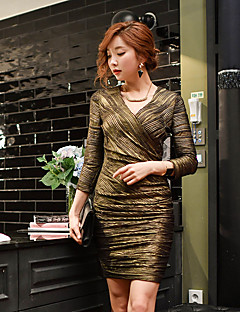 DABUWAWA Women's Going out Party/Cocktail Club Sexy Vintage Sophisticated Bodycon Shift Sheath Dress,Solid V Neck Above Knee Long Sleeve Gold