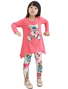 Girl's Cotton Fashion Spring/Fall Going out Casual/Daily Floral Print Long Sleeve Blouse & Pant Two-piece Set Casual Suit