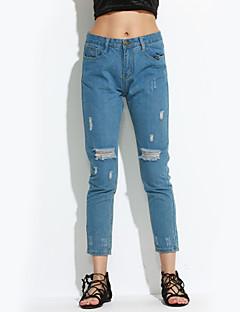 baratos Ponta de Estoque-Mulheres Tamanhos Grandes Jeans Calças - Sólido