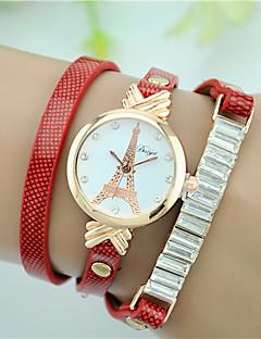 Women's Simulated Diamond Watch Bracelet Watch Fashion Watch Quartz Imitation Diamond Leather Band Eiffel Tower Black White Red Brown