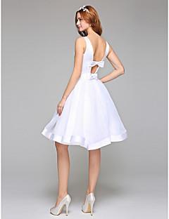 billiga Plusstorlek brudklänningar-A-linje Bateau Neck Knälång Organza / Satäng Bröllopsklänningar tillverkade med Rosett / Bälte / band av LAN TING BRIDE® / Öppen Rygg