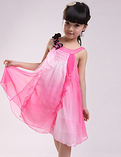 cheap Kids' Clothing Clearance-Girl's Daily Going out Patchwork Dress, Cotton Summer Sleeveless Lace Fuchsia