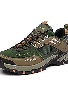 Erkek Atletik Ayakkabılar Dağ Yürüyüşü Rahat Hava Alan File PU Bahar Sonbahar Günlük Bağcıklı Düz Topuk Turuncu Ordu Yeşili Haki Düz