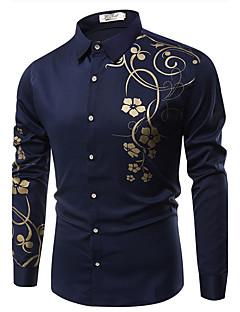 billige Herremote og klær-Bomull Tynn Klassisk krage Skjorte - Blomstret Forretning Herre