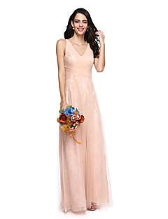 billige Romantisk rosa-Tube / kolonne V-hals Gulvlang Blonder Tyll Brudepikekjole med Bølgemønster Kryssdrapering av LAN TING BRIDE®