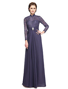 cheap Mother of the Bride Dresses-A-Line High Neck Floor Length Chiffon Lace Mother of the Bride Dress with Beading Lace Pleats by LAN TING BRIDE®